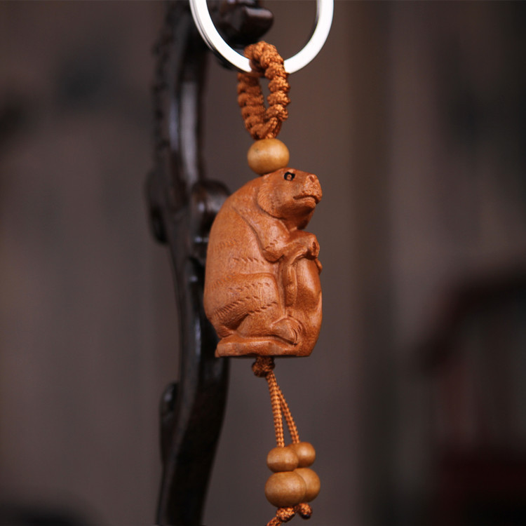 Key Holder Gift Car Bag Pendant Natural Wood 12 Zodiac KeyChain