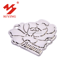 Metal emblems label charm with embossed rose flower logo for clothes