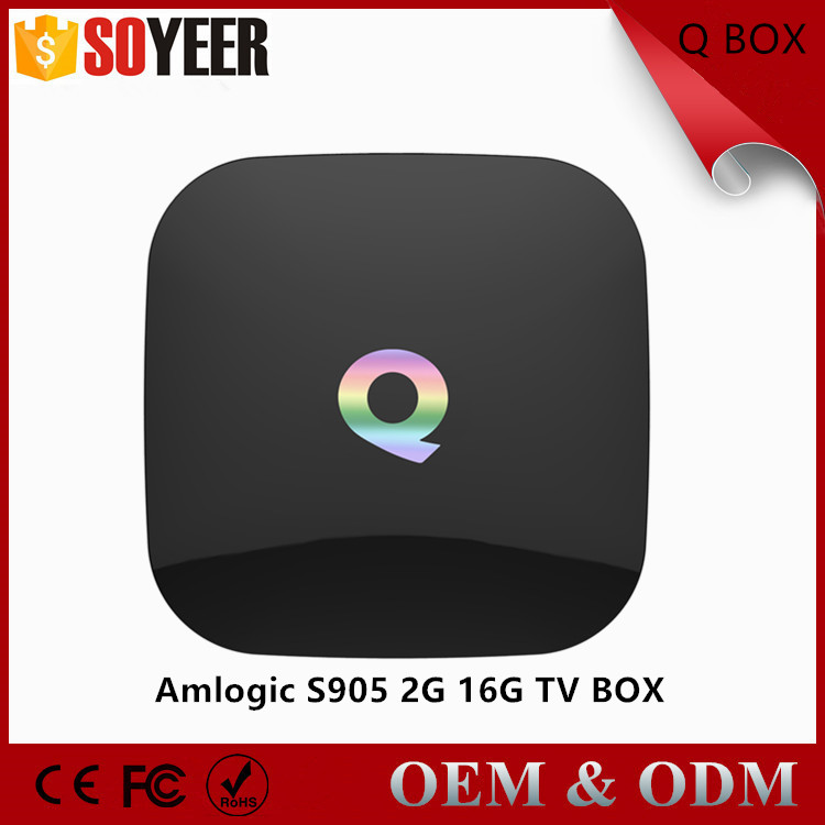 Soyeer Original Q-box Amlogic S905 Android Tv Box 2G/16G USB HDD 1000M LAN Bluetooth 4.0 Pre-installed Media Streaming