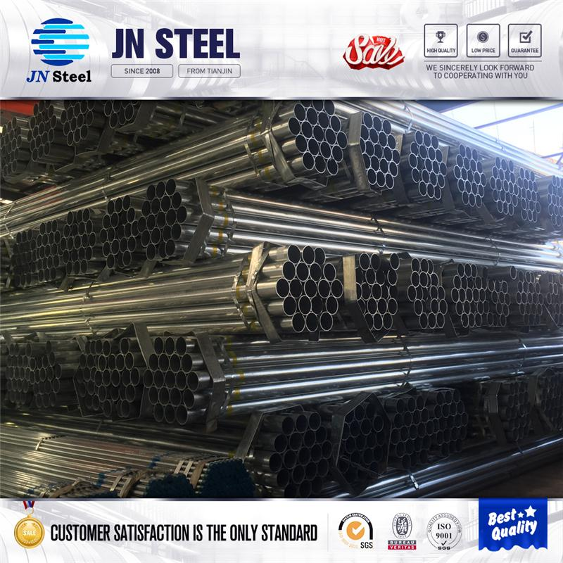 Hot selling hot dip galvanized steel pipe size madie in tianjin with CE certificate