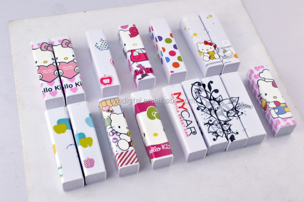 Top sales mini portable charger lipsticks mobile cartoon hello kitty power bank charging for mobile watch phones