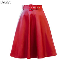 Women Ladies long High Waist mature A-line Mini Faux Leather Skirt