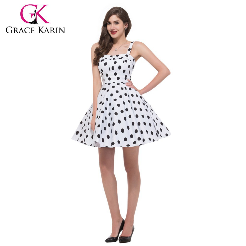 Grace Karin Newest Sleeveless White Color Black Polka Dots Short Cotton 50s Retro Styled Dress CL6093-10#