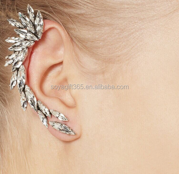 S Punk Metal White Crystal Spike Wing Ear Cuff Piercing Chain Earring Clip Earrings Product On Alibaba
