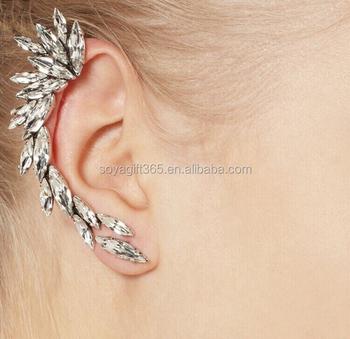Girls Punk Metal White Crystal Spike Wing Ear Cuff Piercing Chain Earring Buy Clip Earrings Earrings Ear Cuff Product On Alibaba Com