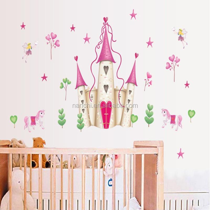 Remov vel rosa castelo da princesa menina quarto torre for Collant mural francais