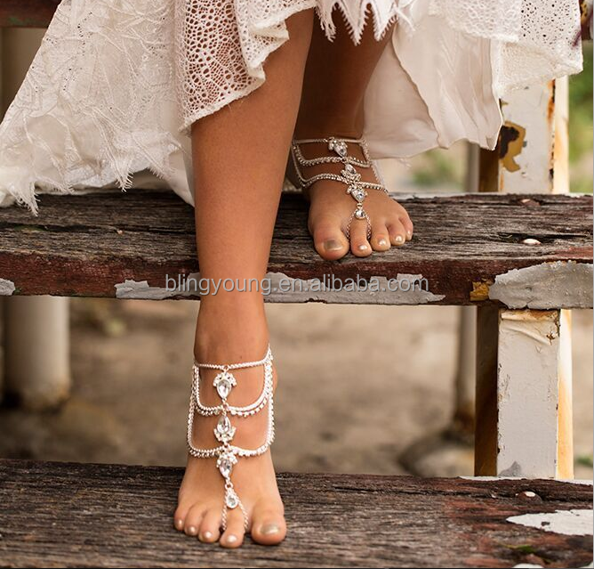 Best selling romany jewelry water drop gemstone hotwife anklet jewelry
