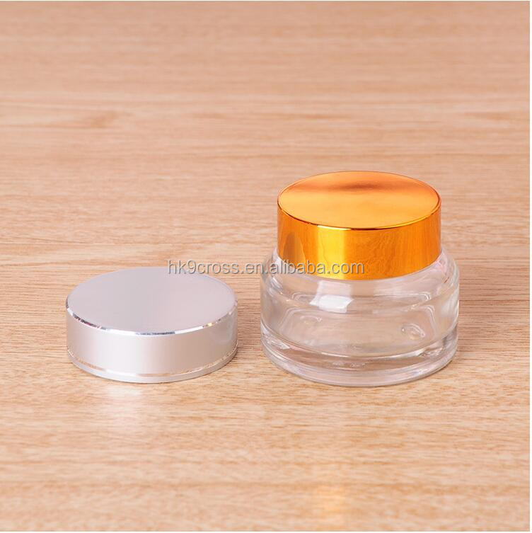 High Quality 30ml 50ml 100ml Clear Skincare cream Cosmetic Glass Jar With Screw Cap