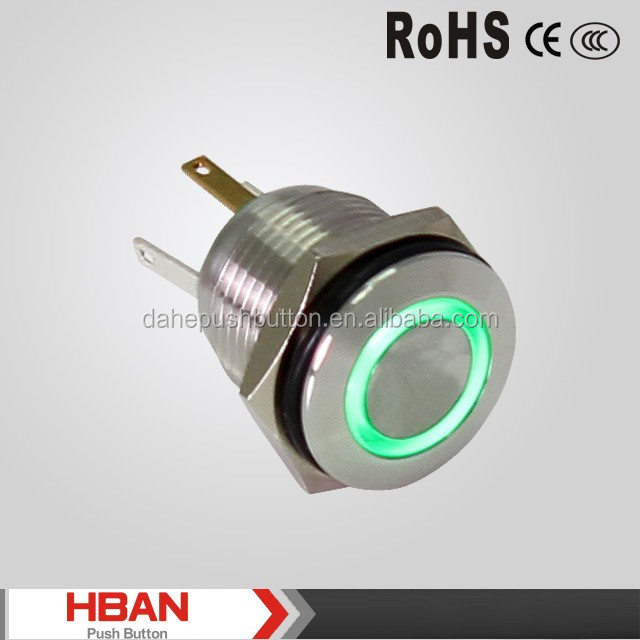 TUV ISO9001 UL HBGQ16F-10/E illuminated 16mm push button switch