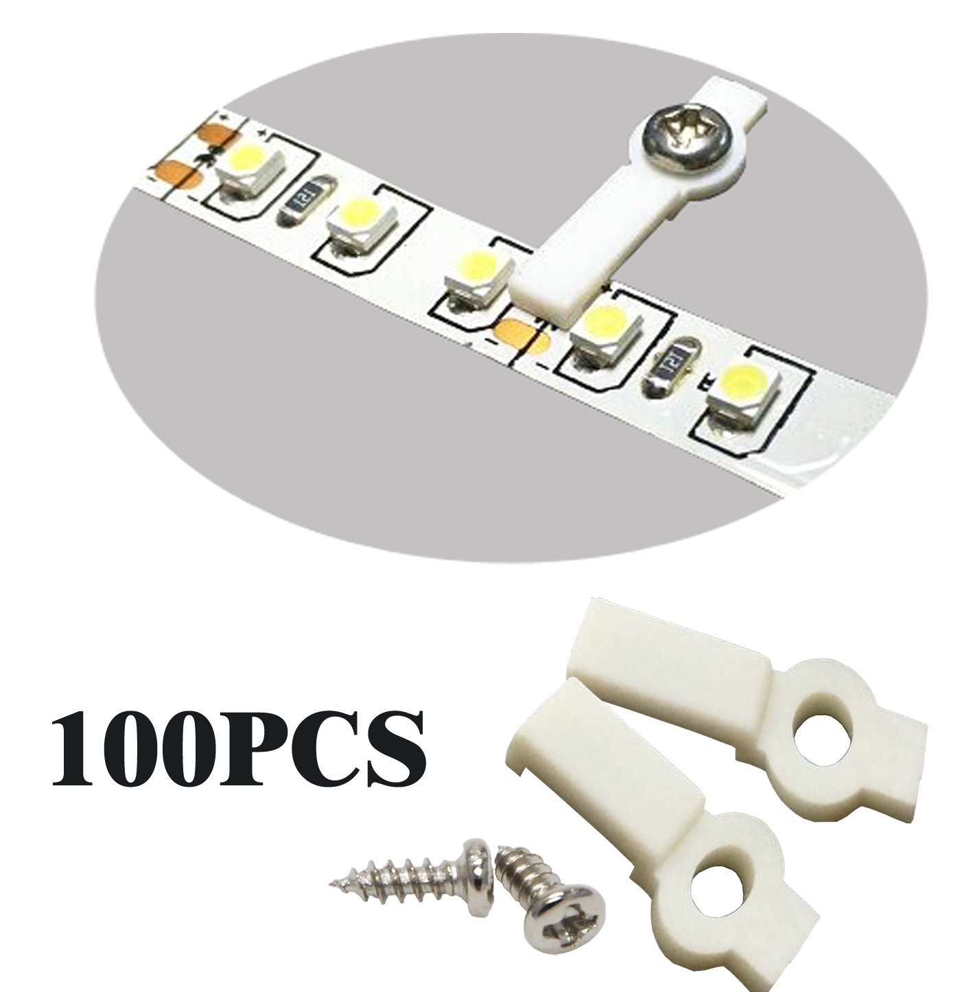 SpiritLED 100 Lots Strip Light Mounting Bracket Fixing Clip-One Side Fixing,Screws included (100, Hollow Distance 10.8mm (Ideal for strip width 10mm))