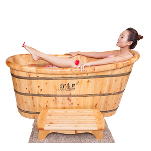 handmade freestanding wooden bathtub indoor portable soaking tub wood fired hot tub