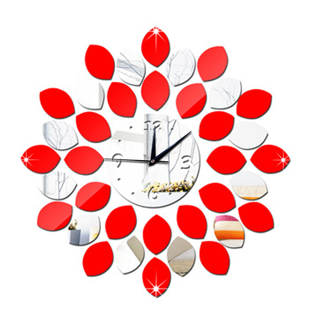 2016 TOP DIY Acrylic Clock Design Mirror Effect Mural Wall Sticker Home Decor Craft Removable Decal Art Sticker Decor #wc1469