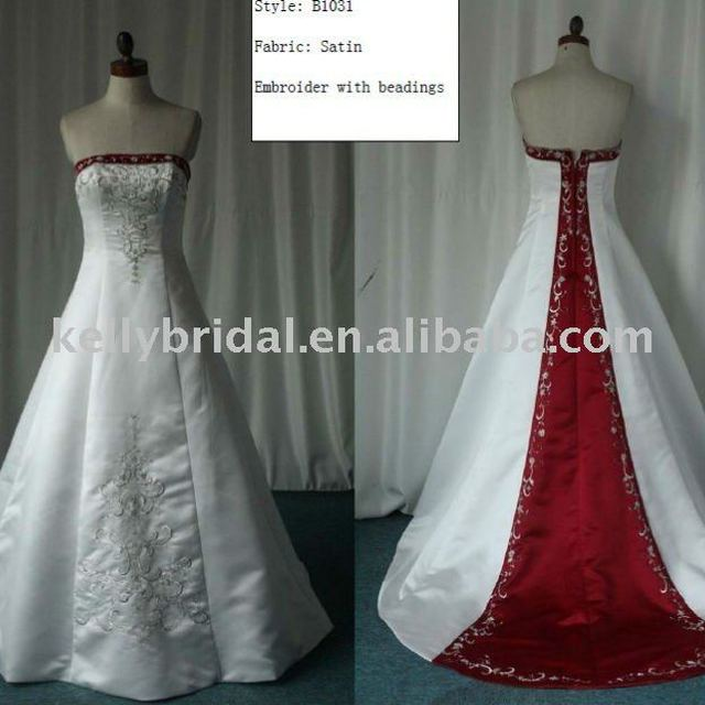 Embroider Beading Strapless Long Train Red Ivory Wedding Gowns Dresses