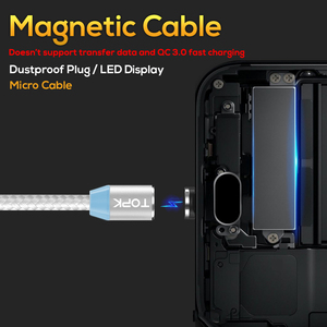 Free Shipping TOPK AM23 2M LED 3 in 1 Magnetic USB Cable