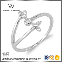 Guangdong Jewelry new design flower leaf lucky silver stone band ring RC10326146