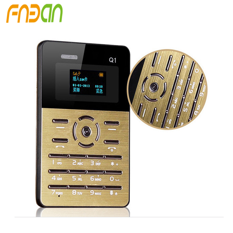 2017 Fnban Mini Q1 Pocket Mobile Phone IFcane MF8 credit card phone LED for children PK AIEK M5 M3 E1