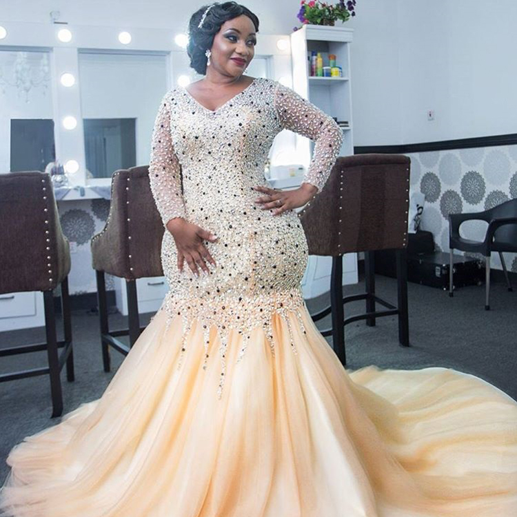 Plus Size Luxury Wedding Dress African Heavy Beading Yellow Mermaid Long  Sleeve Bridal Gowns - Buy African Wedding Dresses,Luxury Wedding Dress,Plus  ...