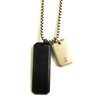 Customized Unisex Stainless Steel Jewelry Pendant Necklace Silver Black Drop Tag Pendant