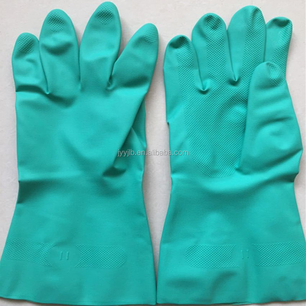 YJ-M01-Green Safety Work Gloves (100% Nitrile)
