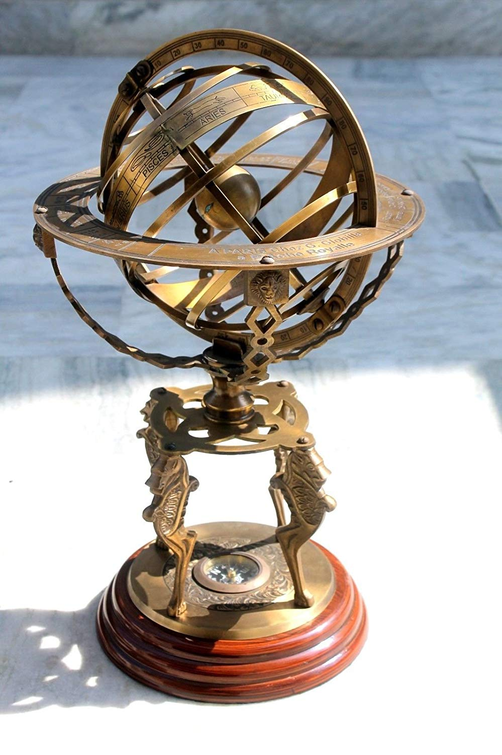 Armillary Globe By Era Collection Armillary Sphere| Large Armillary| Zodiac Armillary|Decor Outdoor| Vintage Brass Antique Style Nautical Garden Decorative Office, Room With Compass on Base Gift Item.