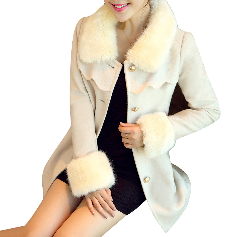 620d89eae5872 Get Quotations · 2015 New Winter Trench Coat Women Long Wool Women Coat  Slim Fur Collar Windbreaker Female White
