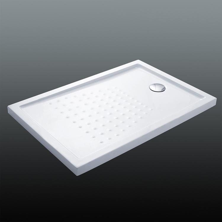 Superficie de acrílico de fibra de vidrio Cubiertas antideslizante rectángulo baño ducha profundo bandeja