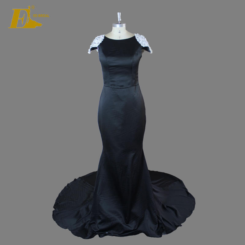 Elegant Cap Sleeve Beaded Court Train Black Long Evening Dress For Fat Women