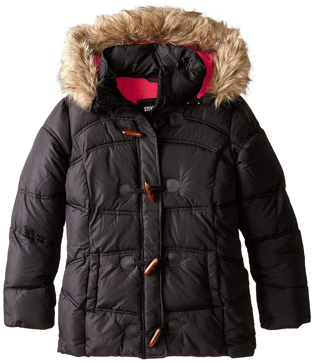 12ab7d386c02 Get Quotations · Steve Madden Big Girls Down Alternative Hooded Winter  Bubble Toggle Jacket Coat