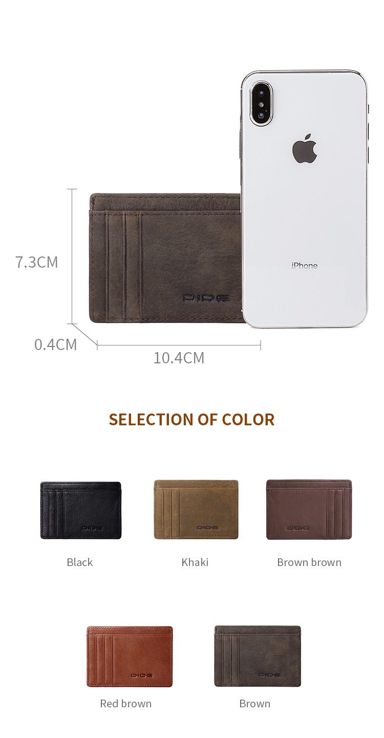DIDE OEM Small Size Business Custom Genuine Leather Man ID Credit Card Holder