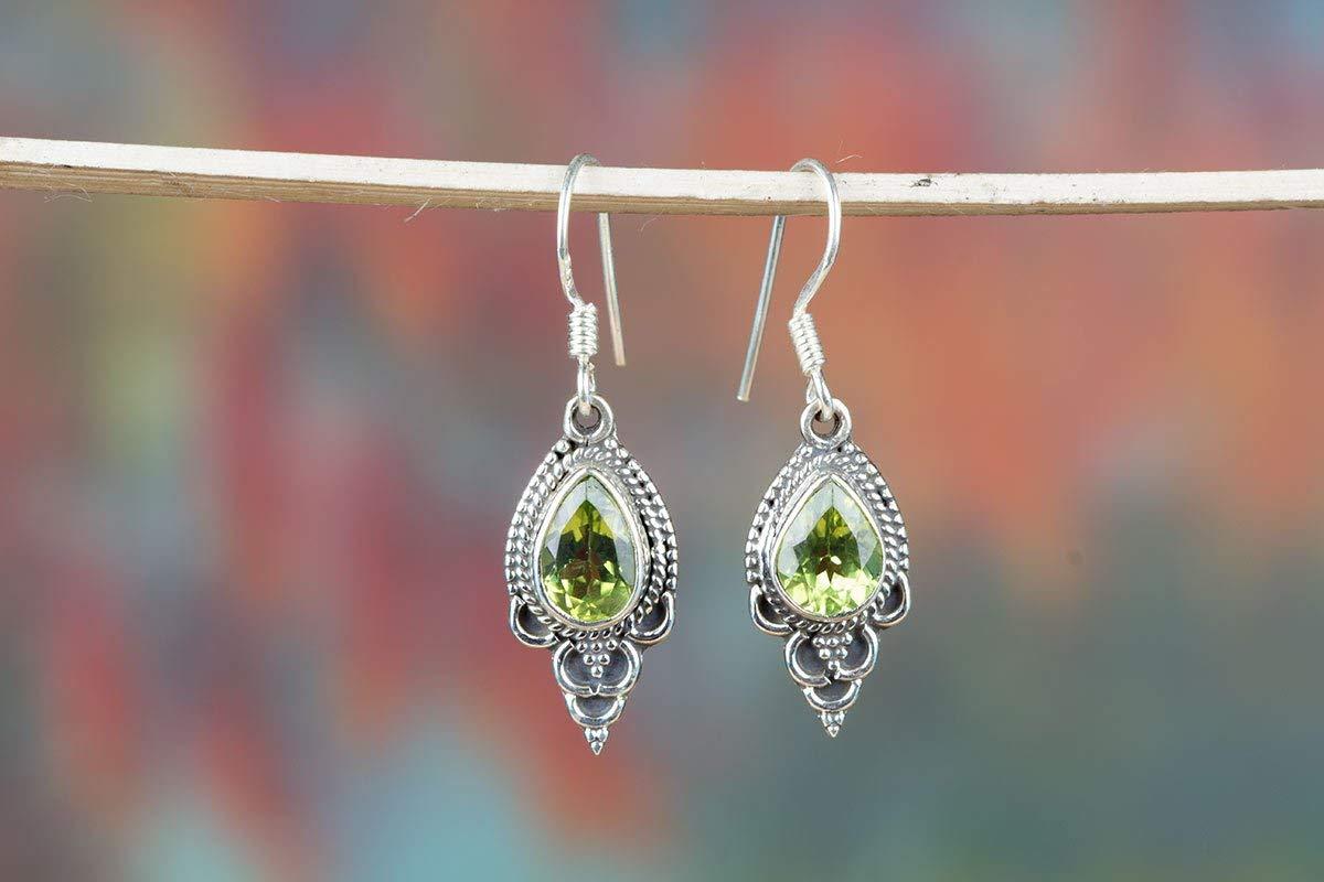 Peridot Earring, August Earring, Yoga Earring, Fine Earring, 925 Silver Earring, Bridal Earring, Artisan Earring, Unique Earring, Sterling Silver Earring, Nickel Free Silver, Green Peridot Jewelry