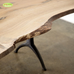 Antique dining table live edge solid wood/ industrial style wooden dining table with wishbone metal legs