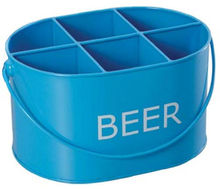 Oblong metal caddy with multi compartments and swing top handle for cooled canned beverage conveyence & serving ideal for party