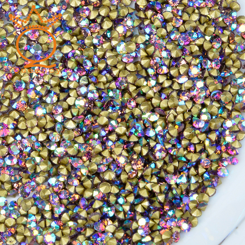 2017 New design Crystal Shining chaton colorful beads pointback glass chatons rhinestones