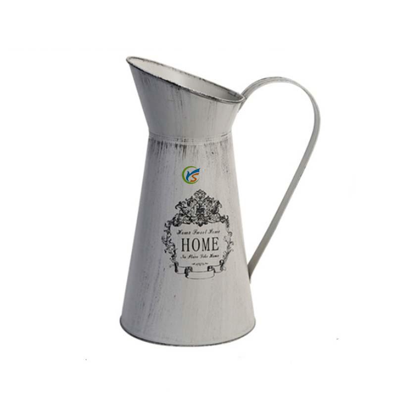 Rustique Gris étain métal baratte Vase Décoratif Fleur Plante Maison Jardin Affichage