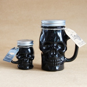 Black Mason glass jar natural soy wax scented halloween skull candle