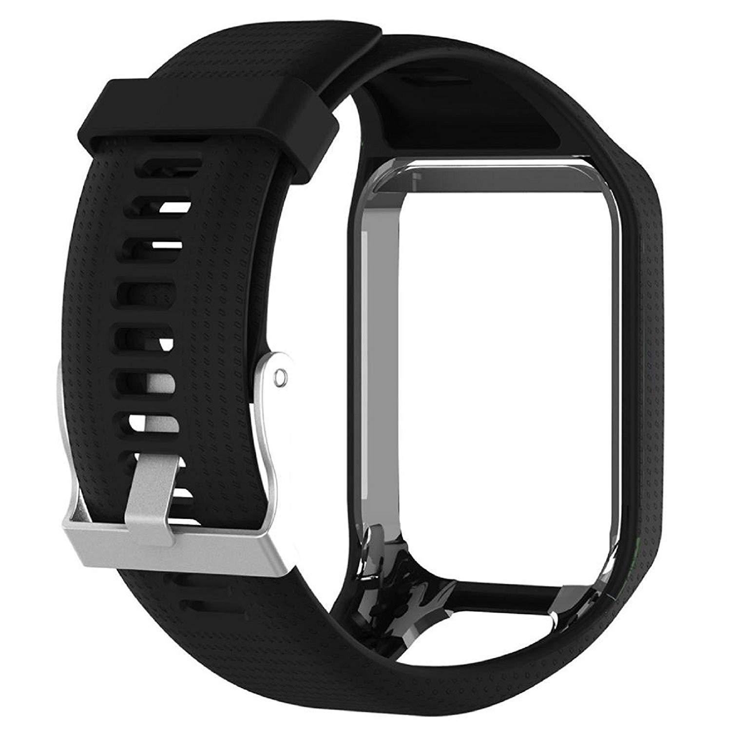 Owill Replacement Silicone Band Strap Frame For Tom Tom Spark/Runner GPS Watch, Band Length: 23cm, Great for Hiking Climbing (Black)