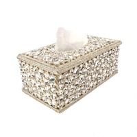 Luxury Rectangular Full Bling Rhinestone Metal Tissue Box Silver For Bedroom Dressers Night Stands Tabletop Desktop Decoration