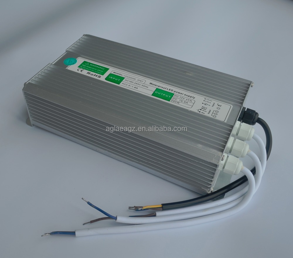 IP67 Led Driver Waterproof 200 Watt Led Driver Power Supply 12 VDC output