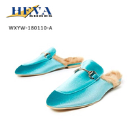 Fashion Velvet Backless Faux Fur Mules Soft Slip-on Loafer Slides Women Indoor Outdoor