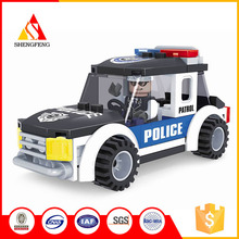 AUSINI interesting construction blocks intelligent police car diy toy