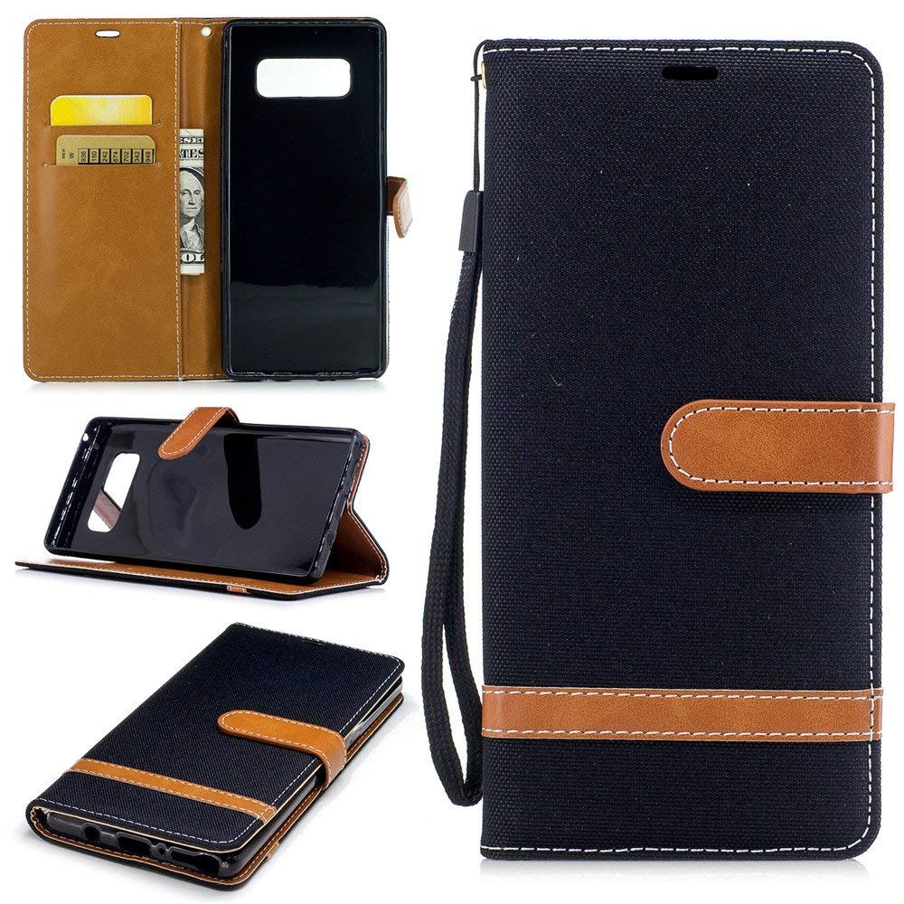 Galaxy Note 8 Case for Women Girls,XYX [Black Denim][Wrist Strap][Kickstand][Card Slots] Premium PU Leather Phone Wallet Case for Samsung Galaxy Note 8