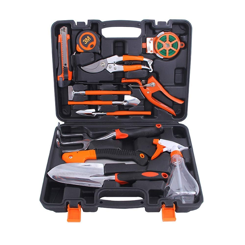 Sunmiao 12 Pce Garden Tools Set Gardening Kits Aluminum Alloy Including Toolbox And Pruning Shears