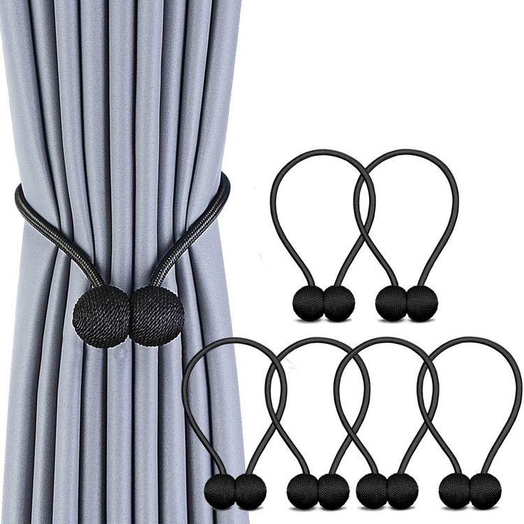 Red 3 Pairs Magnetic Curtain Tieback 16 Inch Decorative Rope Holdback Simple Modern Tiebacks Holders for Home Curtains