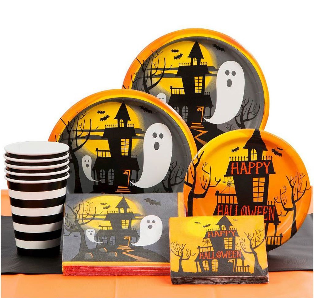 halloween theme party supplies pack halloween plates halloween napkins halloween cups spoons