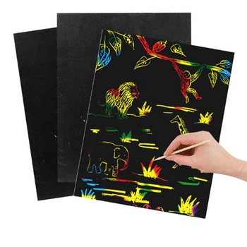 Animal Design Paper Portable Color Scratch Art Painting Pad Card