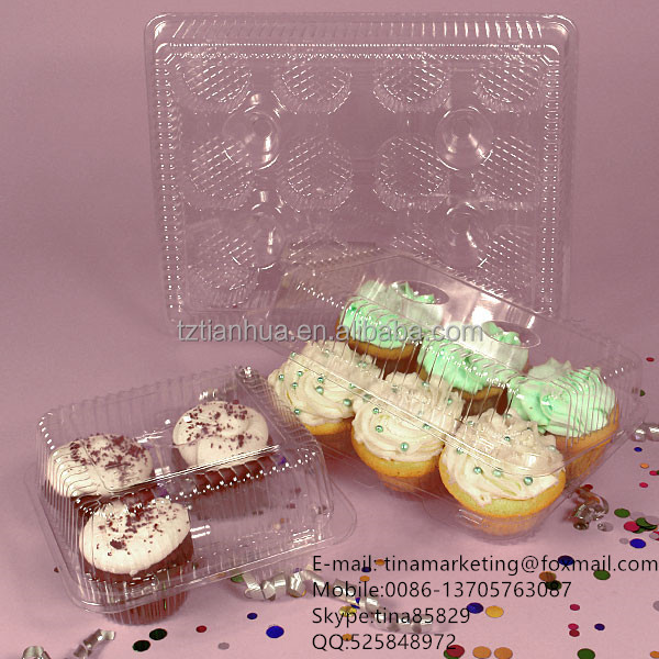 Custom Various Types Plastic Clamshell Hinged Cupcake Container Packaging Box for Take Out