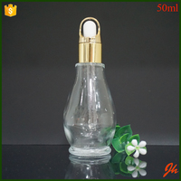Cosmetic Gourd Shaped 50ml clear Glass Bottle for Essential Oil
