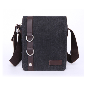 Promotional black vertical men canvas teenager school messenger bag for  ipad with leather tirm c3deeec5d0efc