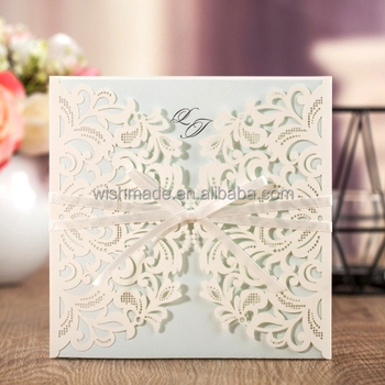 Wishmade Aw7015 New Design White Ribbon Elegant Wedding Invitation