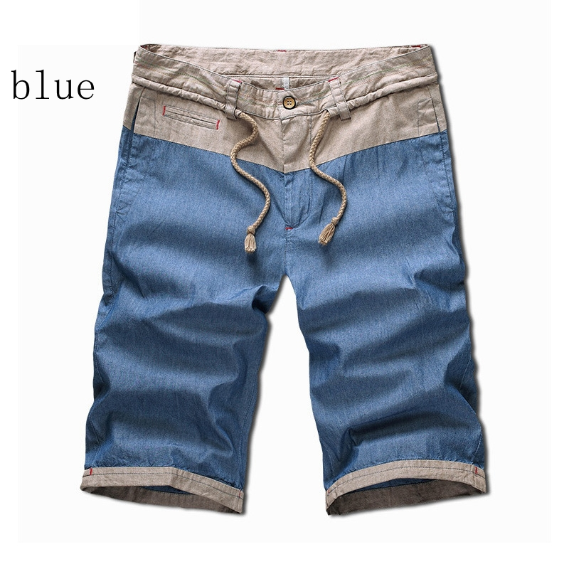 2015 New Hot 38 40 Plus Size Mens Linen Shorts Patchwork Jogger Running Beach Surf Board Shorts Drawstring Men Ropa Hombre